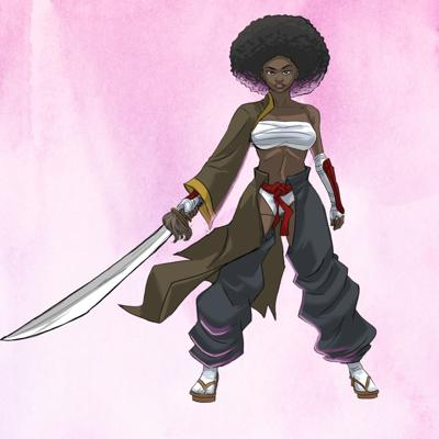 Cover art for Black Anime Custom Fabric with Queenora Renee Fabrics